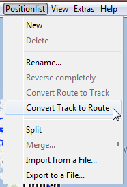 Convert track to route