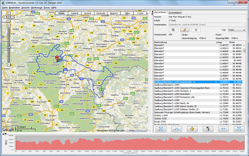 Ein Screenshot von RouteConverter